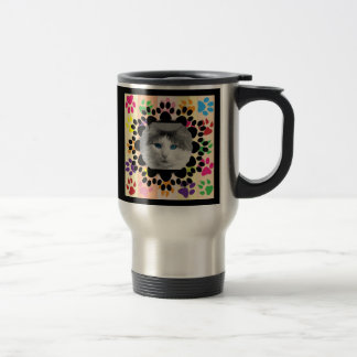 Pet Paw Frame on Paws Travel Mug