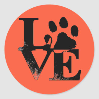 Pet Paw in LOVE Classic Round Sticker
