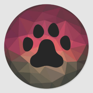 Pet paw in mobern ombre bold colors background classic round sticker