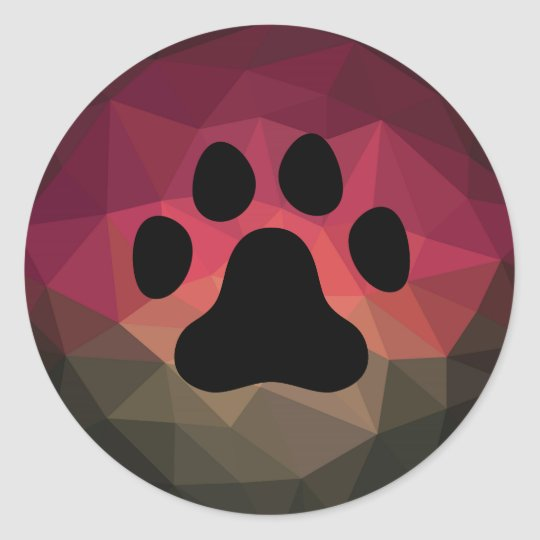 Pet paw in mobern ombre bold colours background classic round sticker
