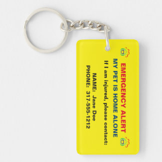 Pet Paw Print Emergency Alert Keychain