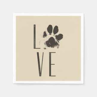 Pet Paw Print Love Typography Disposable Serviette