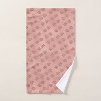 Pet Paw Prints for Animal Lovers Trendy Rose Gold Hand Towel