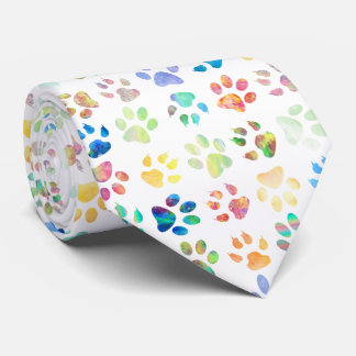 pet paw prints tie