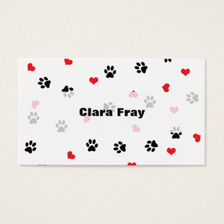 pet paws and hearts pattern business card