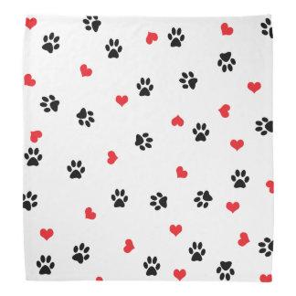 Pet paws and minimalist red hearts pattern bandana