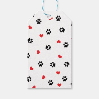 Pet paws and minimalist red hearts pattern gift tags