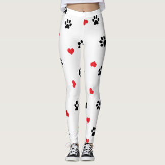 Pet paws and minimalist red hearts pattern leggings