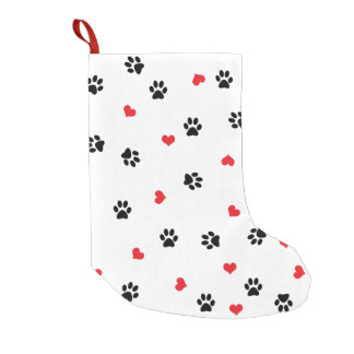 Pet paws and minimalist red hearts pattern small christmas stocking
