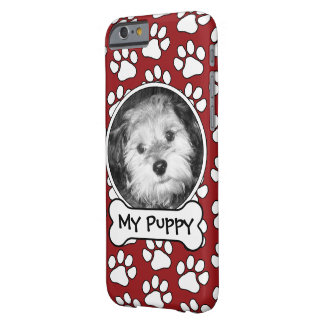 Pet Photo Frame with Paw Prints and Dog Bone Barely There iPhone 6 Case