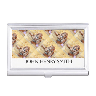 Pet photo personalize name monogram business card holder
