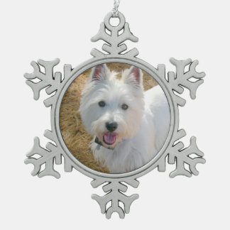 Pet Photo Template Pewter Christmas Tree Ornament