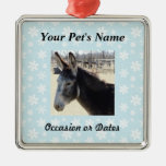 Pet Photo with Blue Snow Background Silver-Colored Square Decoration