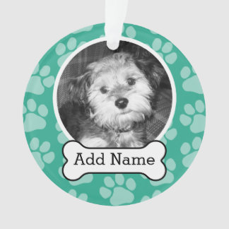 Pet Photo with Dog Bone and Paw Prints Green Ornament