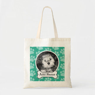 Pet Photo with Dog Bone and Paw Prints Green Tote Bag