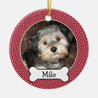 Pet Photo with Dog Bone - Double Sided Ceramic Ornament