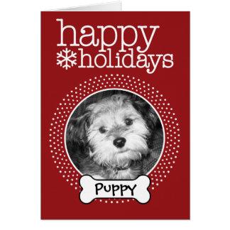 Pet Photo with Dog Bone - Happy Holiday Card