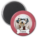 Pet Photo with Dog Bone - red polka dots