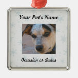 Pet Photo with Winter Snow Background Silver-Colored Square Decoration