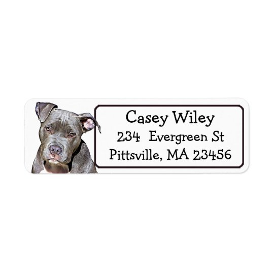 Pet Pitbull Dog Address Label