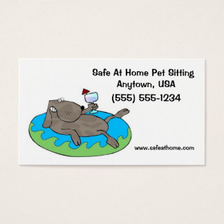 Pet Sitter Business Cards Dog relaxing in pool
