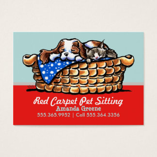 Pet Sitter Care Business CKCS w/ Cat Cherry Business Card