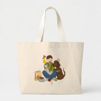 Pet Sitter Cartoon Jumbo Tote Bag