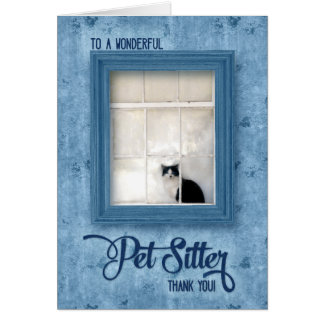 Pet Sitter Thank You Cat in a Window Card