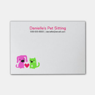 Pet Sitter's Dog & Cat with Heart Post-it Notes