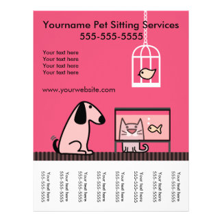 Pet Sitter's Flyer with tags-red