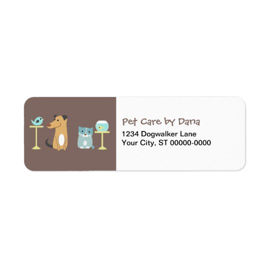 Pet Sitter's Return Address Labels