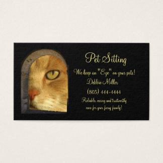 Pet Sitting Business Cards, Cute Cat Business Card