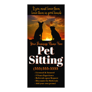 Pet Sitting. Doggy Day Care Custom Advertising Rack Card