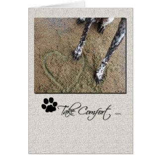 Pet Sympathy Dog Paw in Heart in the Sand Card