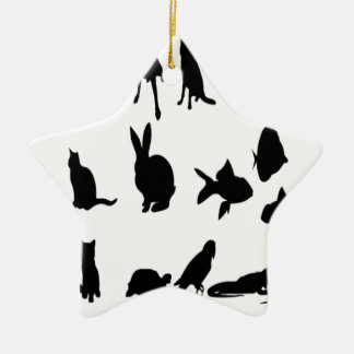 Pet vector silhouettes design christmas tree ornaments