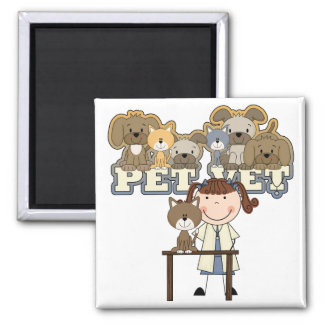 Pet Vet Brunette Female Tshirts and Gifts Magnet