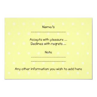 Pet White Mouse. Yellow Polka Dot Background. 9 Cm X 13 Cm Invitation Card