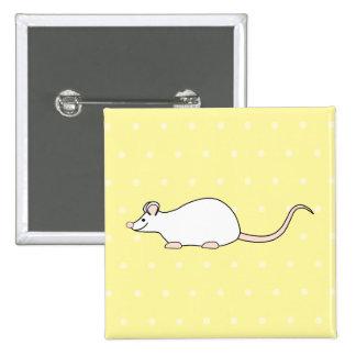Pet White Mouse. Yellow Polka Dot Background. Pinback Button