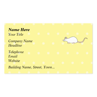 Pet White Mouse. Yellow Polka Dot Background. Business Card Templates