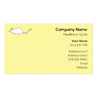 Pet White Mouse. Yellow Polka Dot Background. Business Cards