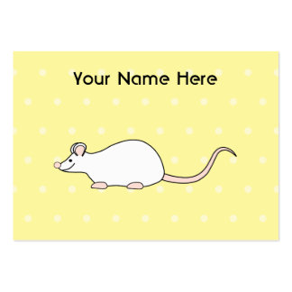 Pet White Mouse. Yellow Polka Dot Background. Business Card