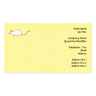 Pet White Mouse. Yellow Polka Dot Background. Business Card Template