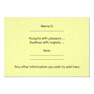 Pet White Mouse. Yellow Polka Dot Background. 3.5x5 Paper Invitation Card
