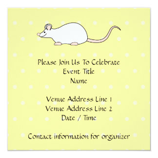 Pet White Mouse. Yellow Polka Dot Background. 5.25x5.25 Square Paper Invitation Card