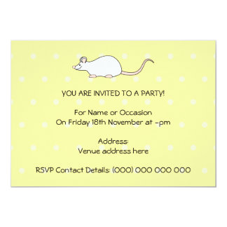 Pet White Mouse. Yellow Polka Dot Background. 5x7 Paper Invitation Card