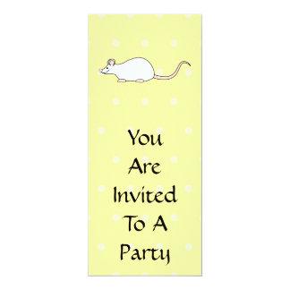 "Pet White Mouse. Yellow Polka Dot Background. 4"" X 9.25"" Invitation Card"