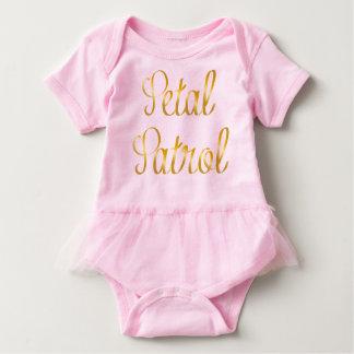 Petal Patrol Baby Tutu in Simulated Gold Ribbon Baby Bodysuit