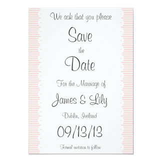 Petal Pink Pinstripes Save The Date Notice 13 Cm X 18 Cm Invitation Card