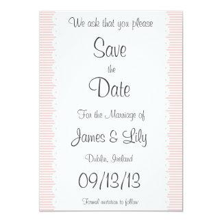 Petal Pink Pinstripes Save The Date Notice 13 Cm X 18 Cm Invitation Card