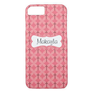 Petals and Crosses in Pink Personalize iPhone 7 Case